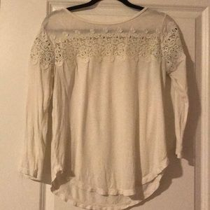 Lace eyelet long sleeve shirt by Ann Taylor LOFT S